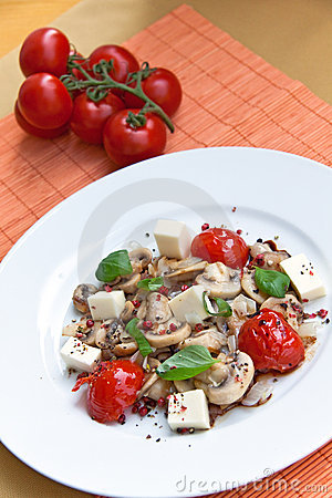 Free Mozzarella With Mushrooms , Mint Ant Baked Cherry Royalty Free Stock Images - 8984459