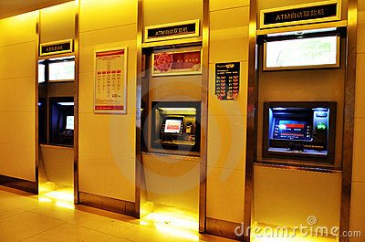 Máquina do Atm-dinheiro Imagem Editorial