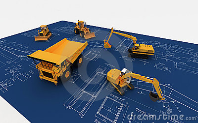 Máquina escavadora e descarga amarelas no esboço