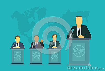 Mr President on the rostrum tribune. Politics events , the policy of government report Vector Illustration