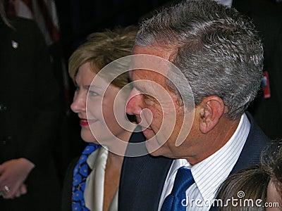 Mrs президент w george laura bush Редакционное Стоковое Изображение