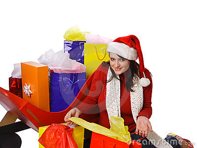 Mrs. Claus Holding shopping bags