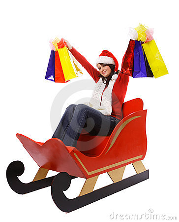 Mrs. Claus With Shopping Bags Royalty Free Stock Images - Image: 16879069