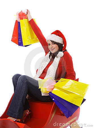 Mrs. Claus with shopping bags