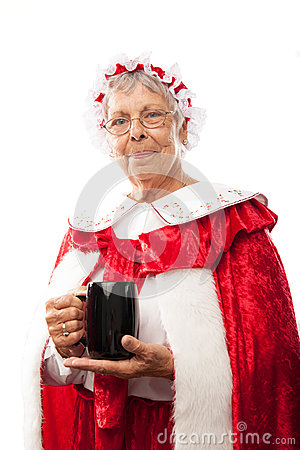 Mrs. Clause holding a cup