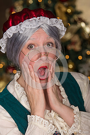 Free Mrs Clause Is Shocked Royalty Free Stock Image - 54356796