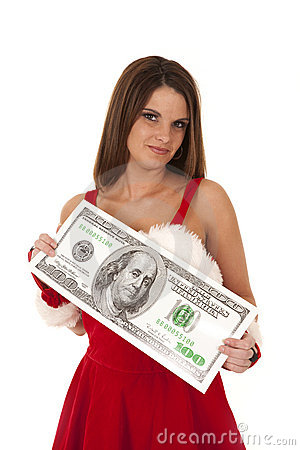 Mrs santa with big money
