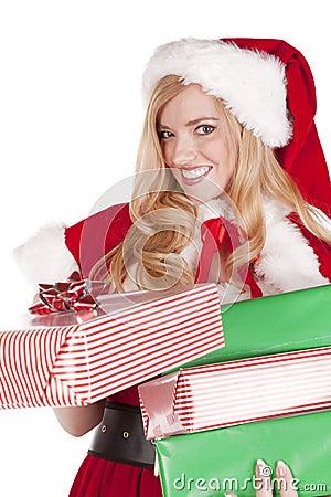 Mrs Santa handing present