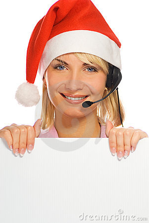 Mrs. Santa with a headset