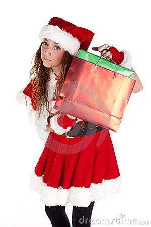 Mrs Santa holding up gift bag
