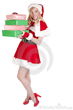 Mrs Santa standing presents