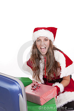 Mrs Santa suitcase presents happy