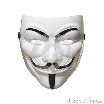 Máscara anónima (máscara de Fawkes del individuo) Fotografía editorial