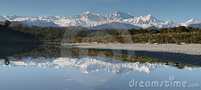 Mt. Cook and Mt. Tasman, West Coast New Zealand