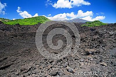 Mt Etna volcanic lava field