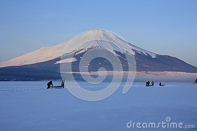 Mt. Fuji over freeze up Lake Yamanaka