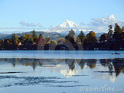 Mt. Hood and blue lake park, Oregon.