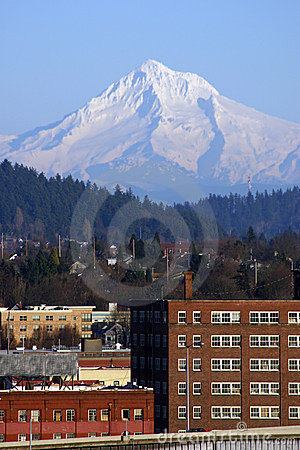 Mt Hood over Portland, Oregon