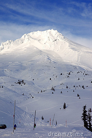 Mt. Hood in winter.- (vertical)