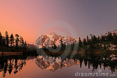 Mt Shuksan with alpine glow
