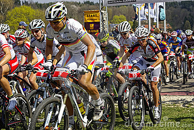MTB Bundesliga racing 2011, Muensingen, Germany Editorial Photo
