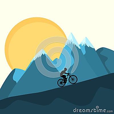 Free MTB Female Rider On Mountains Sunset Background Stock Photos - 100553033