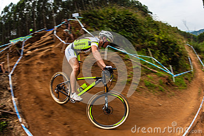 MTB Girl Cyclist Action Editorial Photography