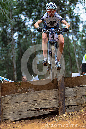 MTB Girl flight Drop  Editorial Stock Photo