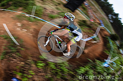 MTB Girl Speed Blur X Country Editorial Stock Image