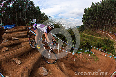 MTB Girl Steep Steps Challenge Editorial Stock Photo