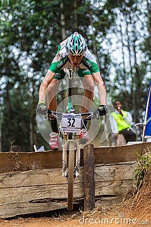 MTB Male Cyclist Flight Editorial Image