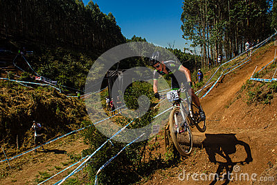 MTB Race Cyclist Ramp X Country Editorial Stock Photo