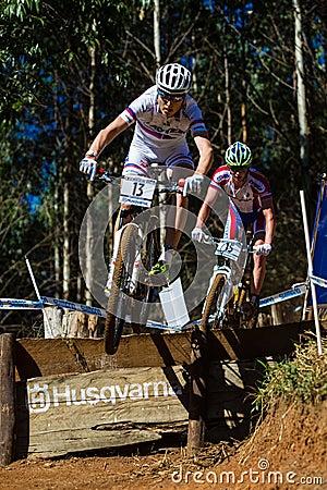 MTB Riders Race Ramp Flight Editorial Stock Image