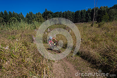MTB X Country Forests Rider Editorial Stock Photo