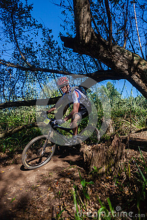 MTB X Country Forests Rider  Editorial Stock Image