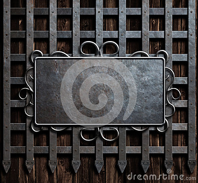 Free Mteal Plate On Medieval Castle Gate Or Wall Background Royalty Free Stock Photo - 69644985