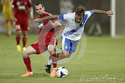 MTK Budapest vs. DVSC OTP Bank League football match Editorial Stock Image