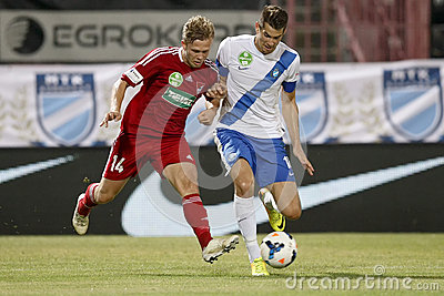 MTK Budapest vs. DVSC OTP Bank League football match Editorial Stock Photo