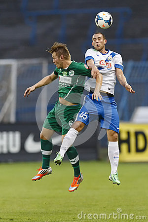 MTK vs. Gyor OTP Bank League football match Editorial Stock Photo