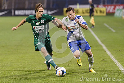 MTK vs. Gyor OTP Bank League football match Editorial Photo