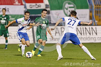 MTK vs. Gyor OTP Bank League football match Editorial Photography