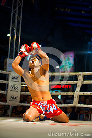 Muay Thai Arms Raised Kneeling Wai Khru Editorial Image