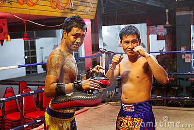 Muay Thai fighters in the ring before the fight Editorial Stock Image