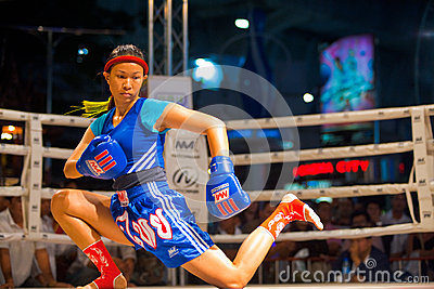 Muay Thai Warmup Wai Khru Knee Kicking Editorial Photography
