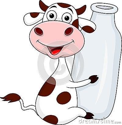 Mucca con la bottiglia per il latte