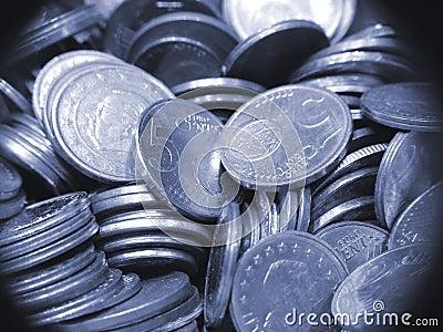 Mucchio di euro monete di valuta