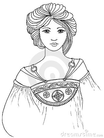 Mucha style lady vector