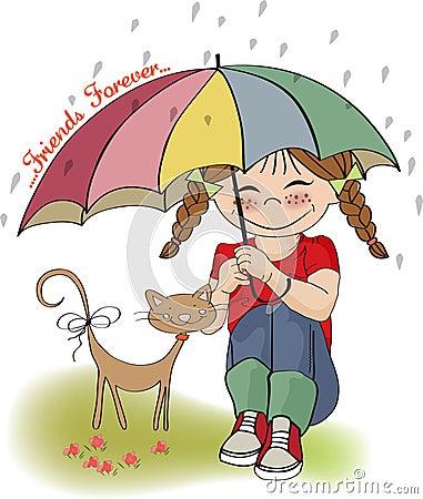 Muchacha bonita joven y su gato, tarjeta de la amistad