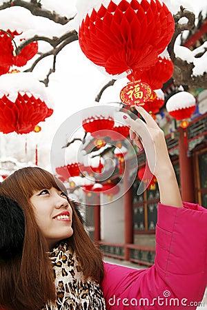 Muchacha china en Año Nuevo