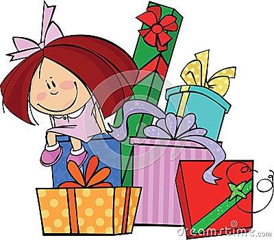 Muchacha con los regalos